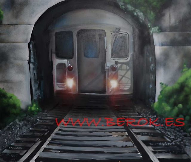 graffiti mural en 3d de tren