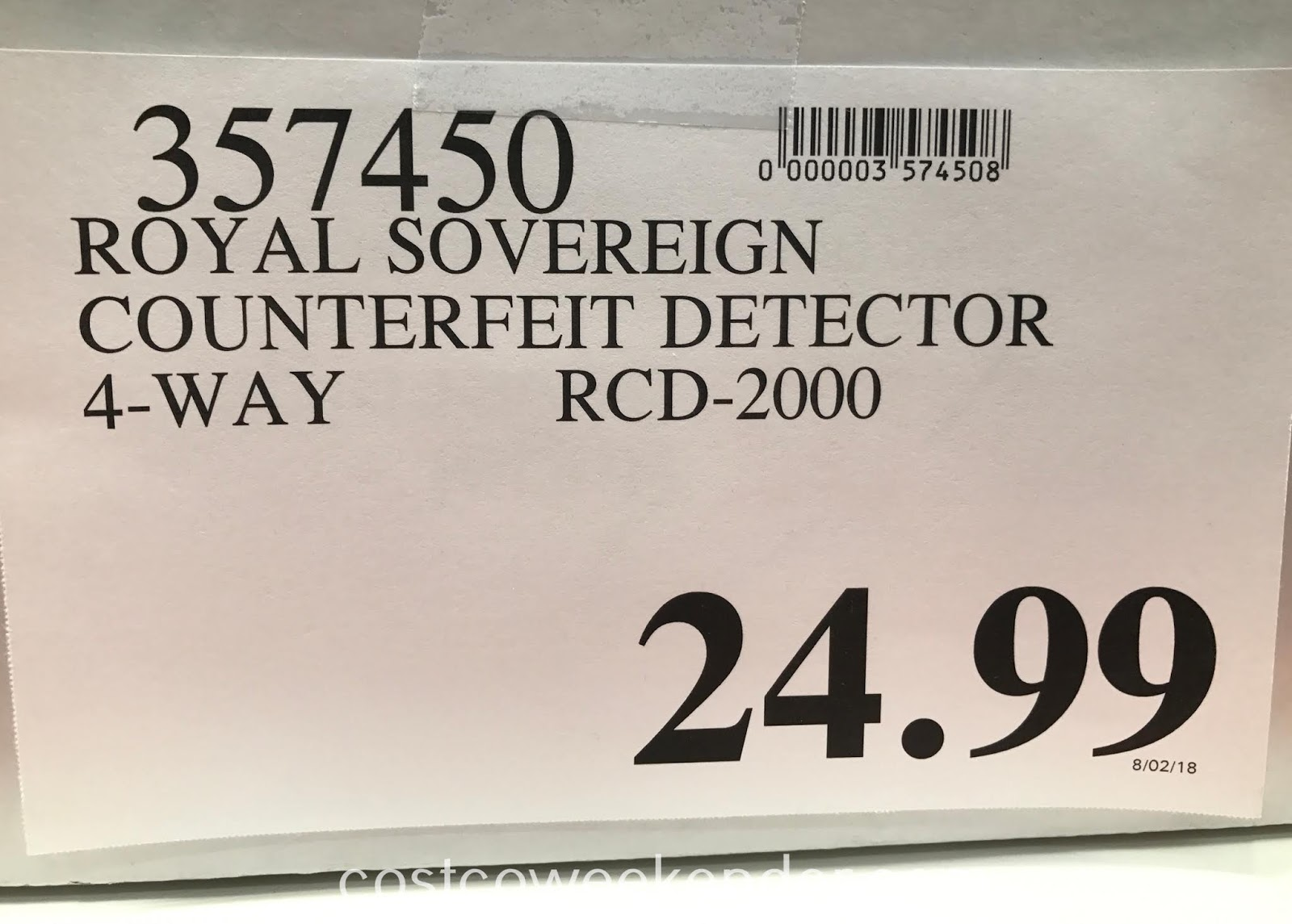 Deal for the Royal Sovereign Counterfeit Detector (RCD-2000) at Costco