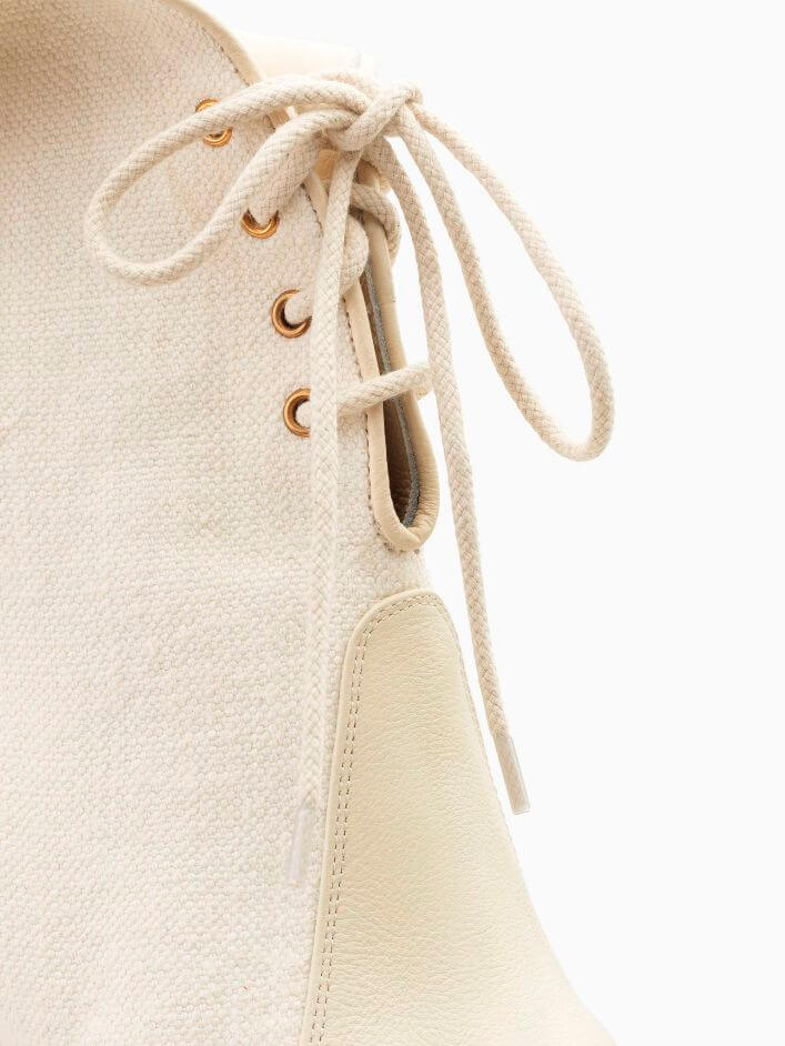 White Canvas Ankle Boots With Lace-Up Detail
