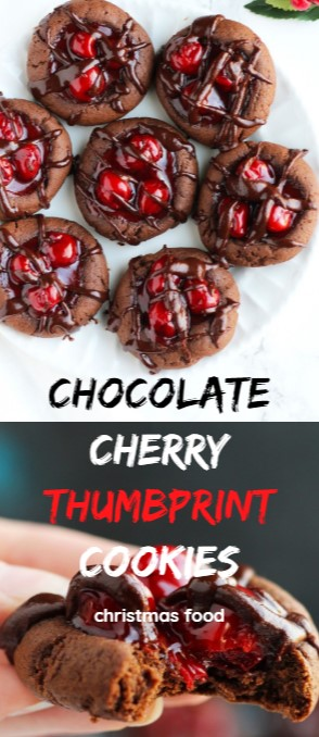 Chocolate Cherry Thumbprint Cookies #christmas #cookies