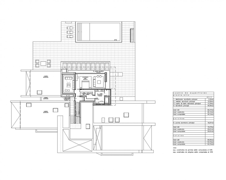 Upper floor plan of Sotogrande House by A-Cero Architects