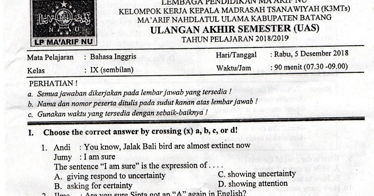 Soal Uas Bahasa Inggris Kelas 11 Semester 1 Kurikulum 2013 Pdf