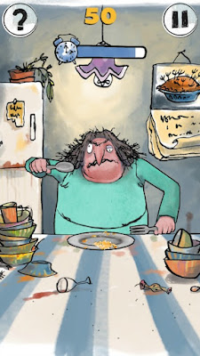 Roald Dahl's House of Twits App Now Available | Morgan's Milieu: One of the mini games is to feed Mrs Twit in the Kitchen