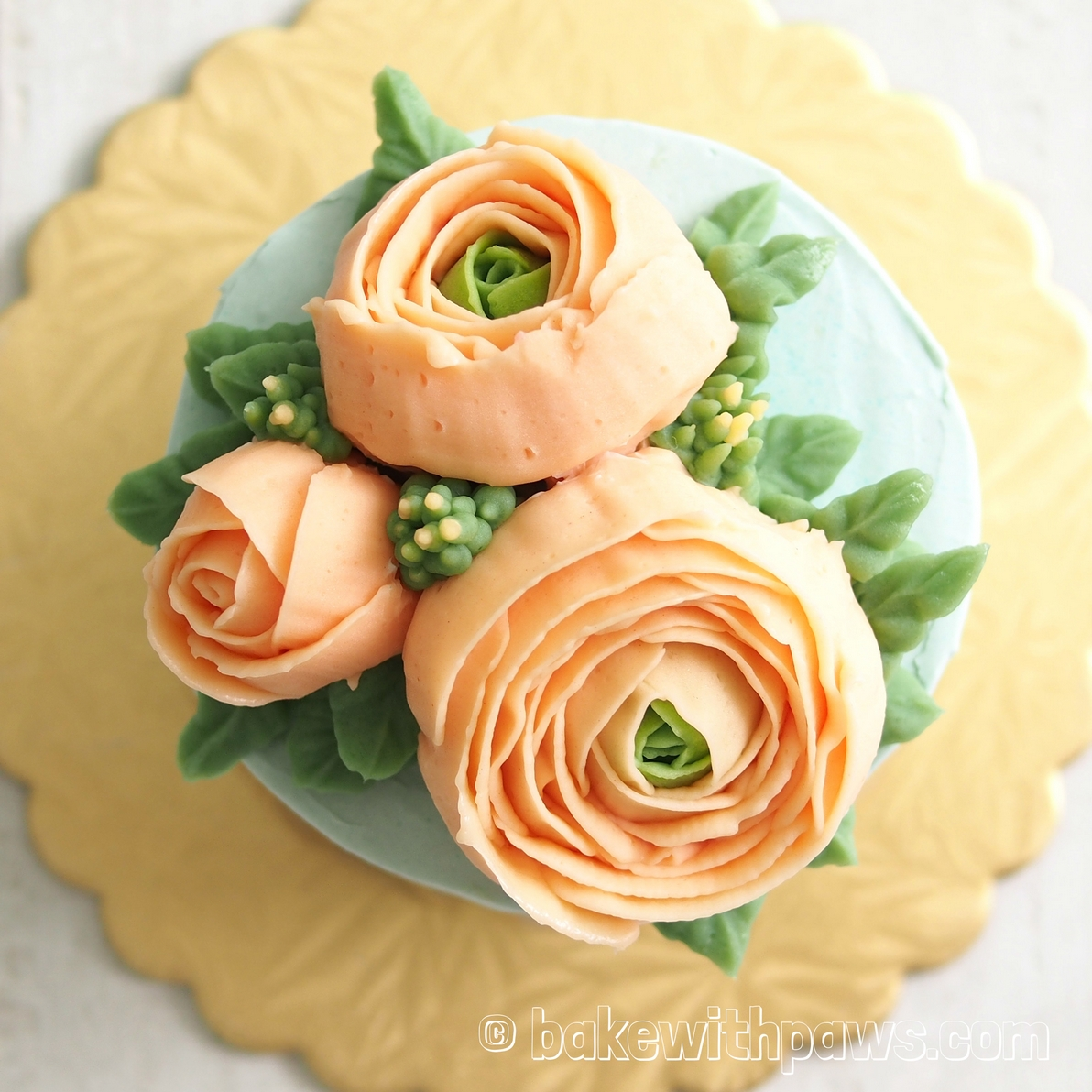 Korean Style Buttercream Flowers Cake - 2 - BAKE WITH PAWS