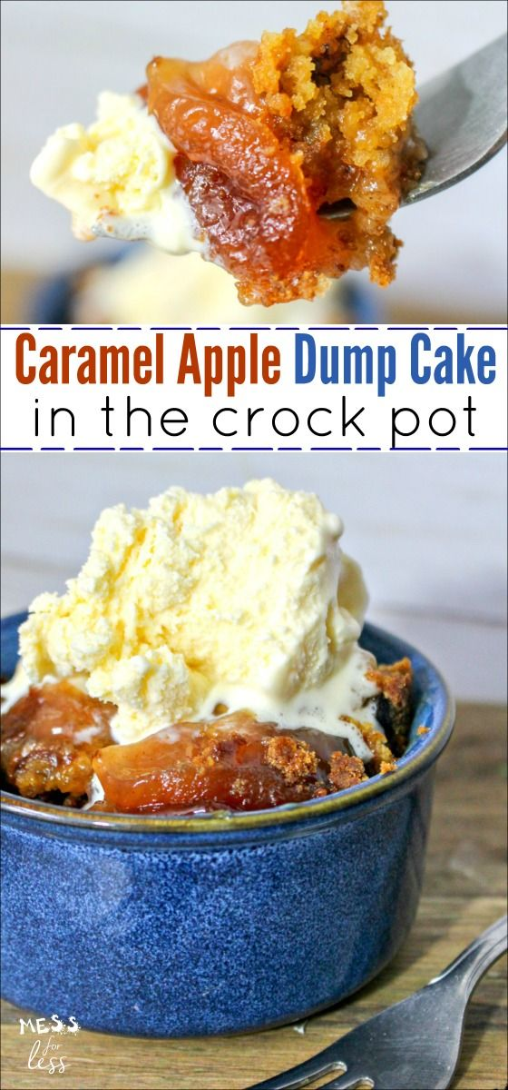 Easy Crock Pot Apple Dump Cake with Salted Caramel