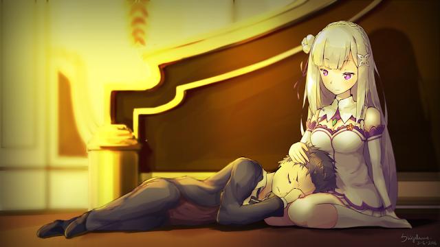 wallpaper rezero emilia and subaru