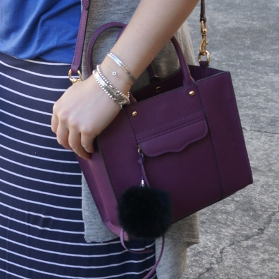 Navy stripe maxi skirt, Rebecca Minkoff mini MAB tote in plum purple | Away From The Blue