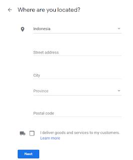 Data yang kedua yang harus anda isi pada akun google my bisnis adalah alamat anda atau bisnis anda. Isi dengan benar dan lengkap. Setelah selesai diisi, klik Next