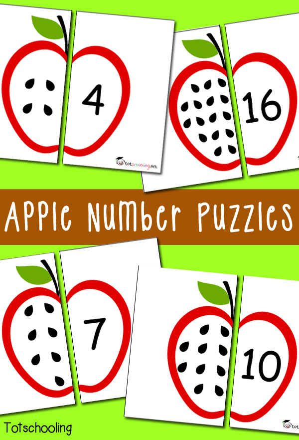 photograph relating to Printable Puzzles for Preschoolers named Absolutely free Apple Quantity Puzzles Totschooling - Little one