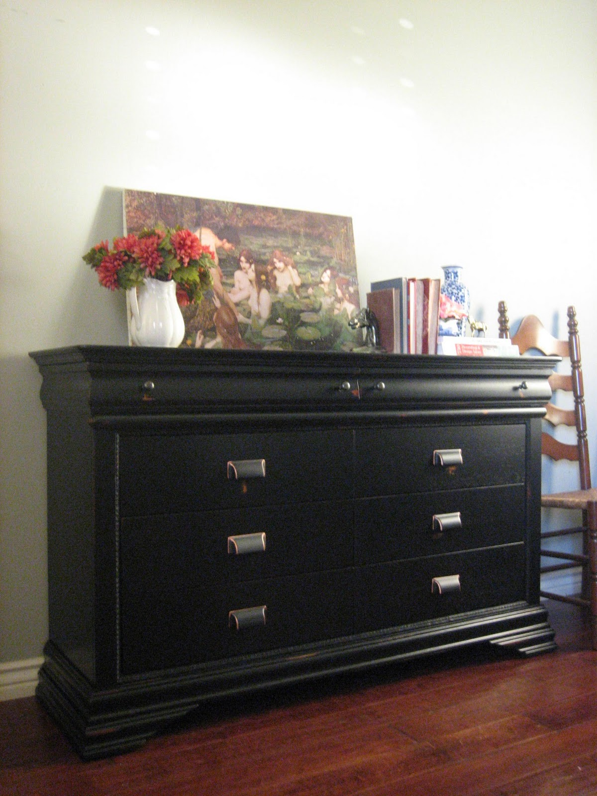 European Paint Finishes Black Console Dresser