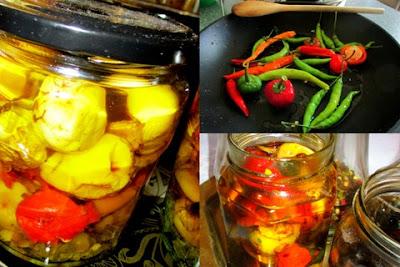 Marinált sült chili paprika   extra szűz olívaolajban eltéve