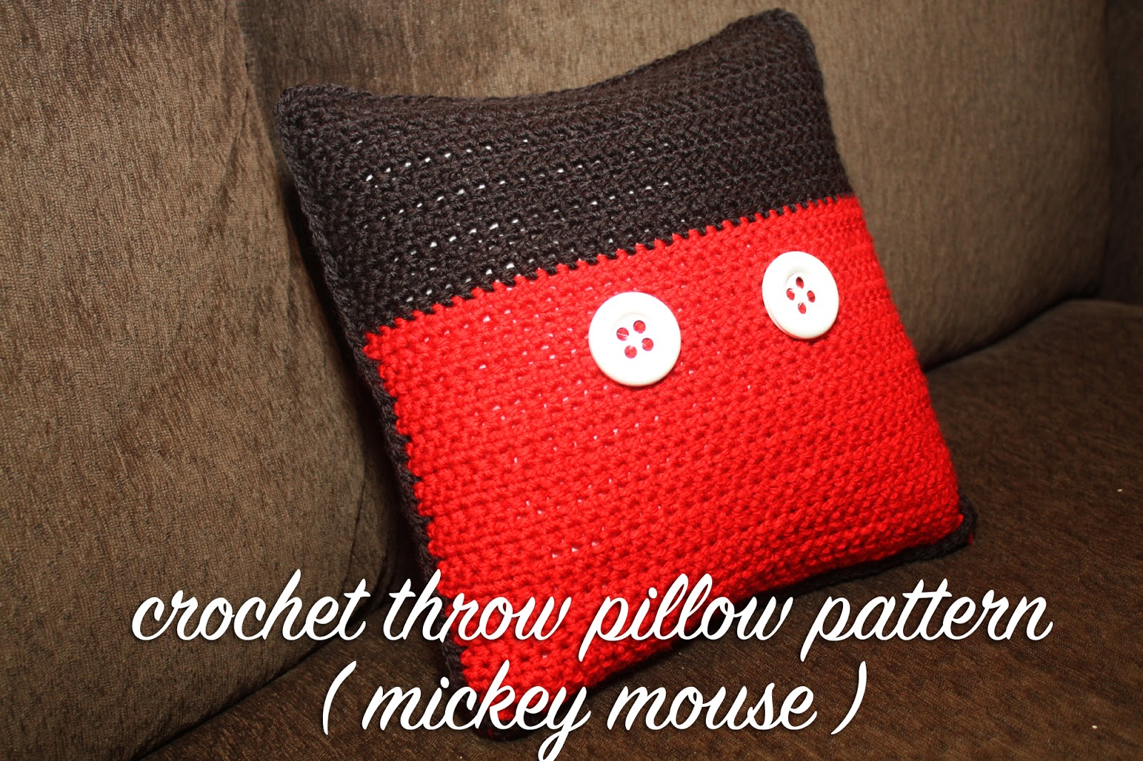 Free pattern crochet disney inspired throw pillow mickey mouse this crochet pillow is of course inspired by the one who started it all mickey mouse and since he is so classic and iconic this pillow pattern is quite bankloansurffo Gallery