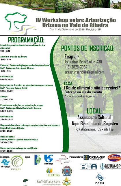 Workshop sobre Arborização Urbana será dia 14 de Setembro em Registro-SP
