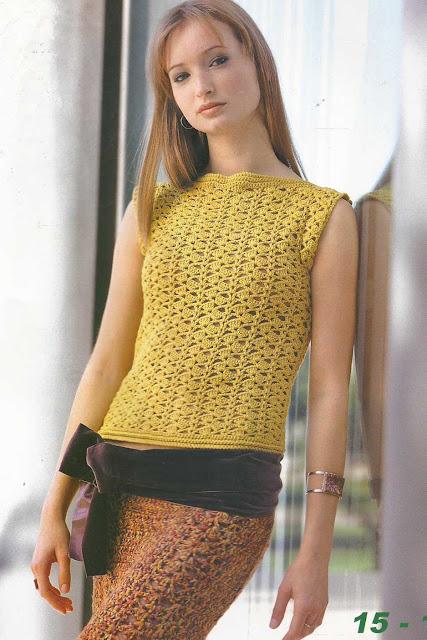 Patrón #870: Jersey y Falda a Crochet