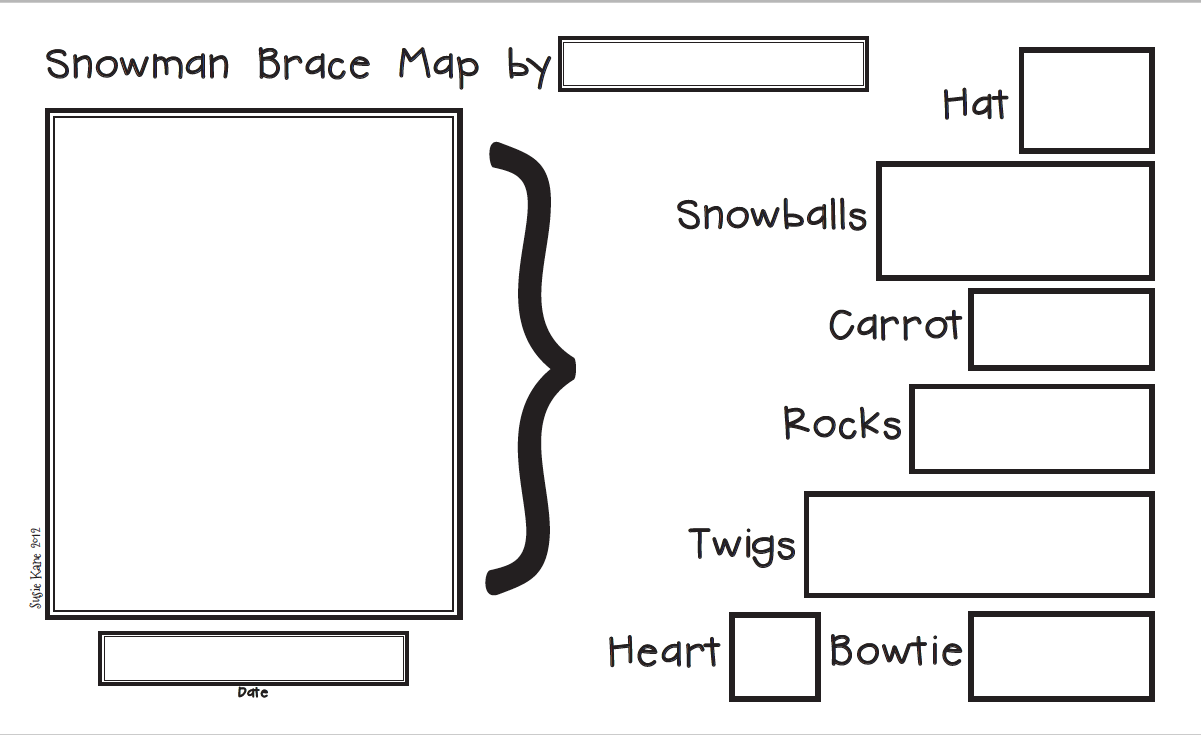 Kindergarten with susie snowman brace maps for Brace map template