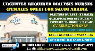 DIALYSIS NURSES URGENTLY REQUIRED FOR SAUDI ARABIA