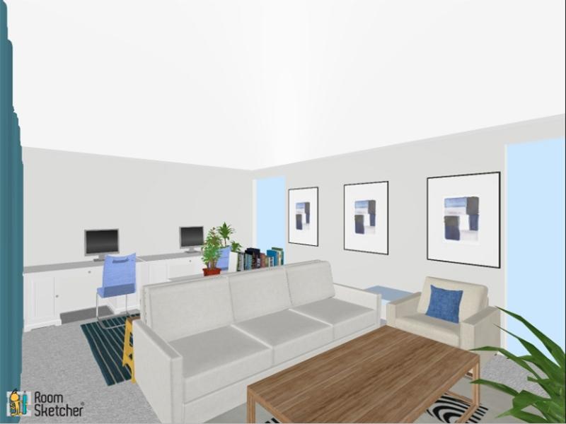 3D floor plan of live/work space