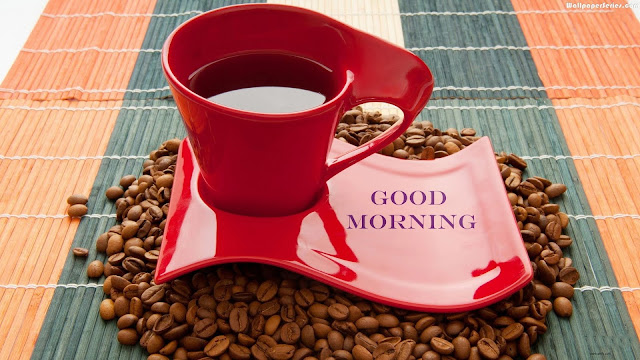 Pleasant Morning With Coffe Beans and Red Tray And Cup Good Morning HD Wallpaper Free Download