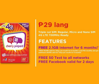 Cherry Prepaid LTE-4G Sim, Comes With Free Internet For Only 29 Pesos
