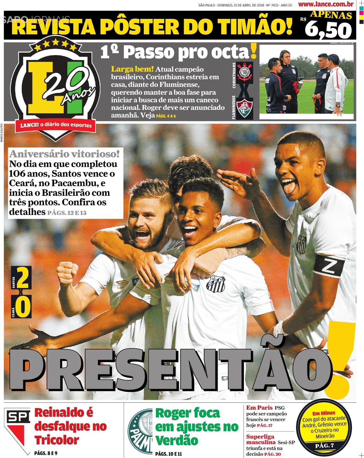 Aniversário 106 anos  Santos derrota Ceará e quebra tabu na estreia pelo  Campeonato Brasileiro - Flamengo empata e Grêmio bate Cruzeiro b8a27fcf1c314