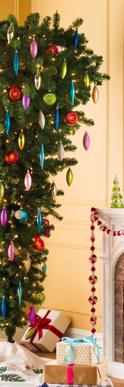 The Holiday Aisle 7.5' Green Upside Down Artificial Christmas Tree with Clear Lights
