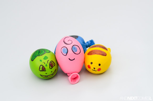 Cute Pokemon stress balls for kids to make from And Next Comes L