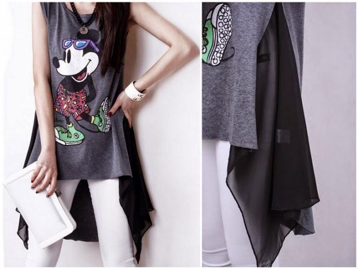 cómo añadir un acabado asimétrico a una camiseta reciclada. Patrón