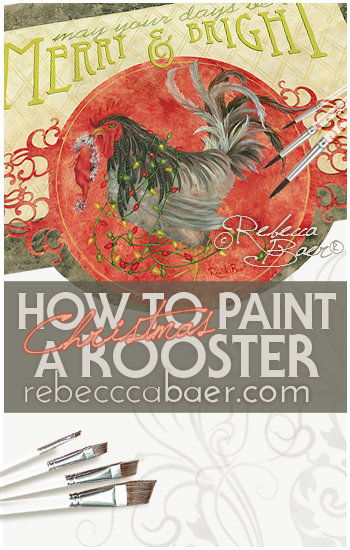 How to paint a Holiday Rooster Floorcloth in acrylics | RebeccaBaer.com