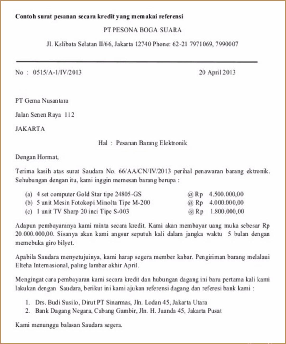 Contoh Surat Pesanan Barang