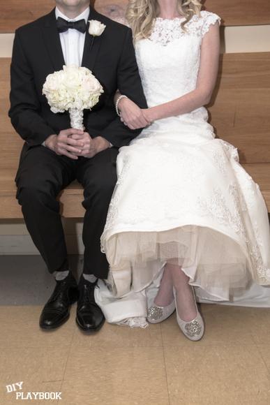 creative bride and groom pose