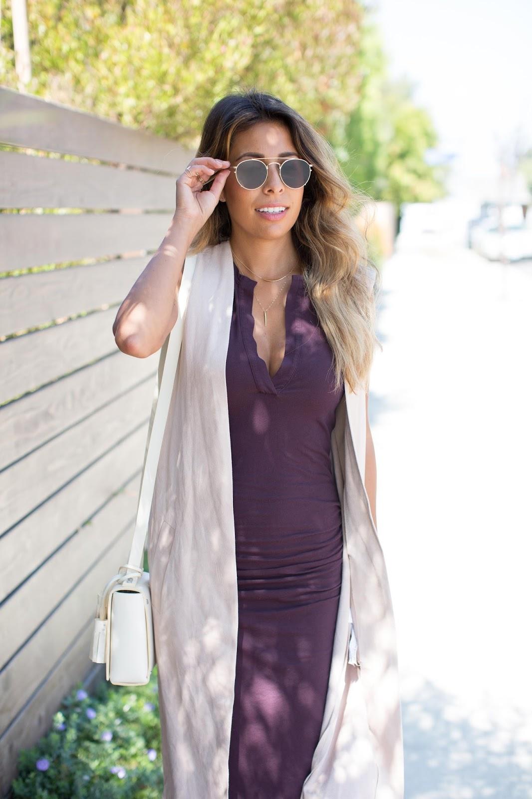 how to wear cotton midi dress, kim kardashian style, james perse dress