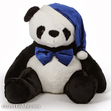 42in Papa Xin Christmas Panda Bear in blue Santa hat and blue bow tie