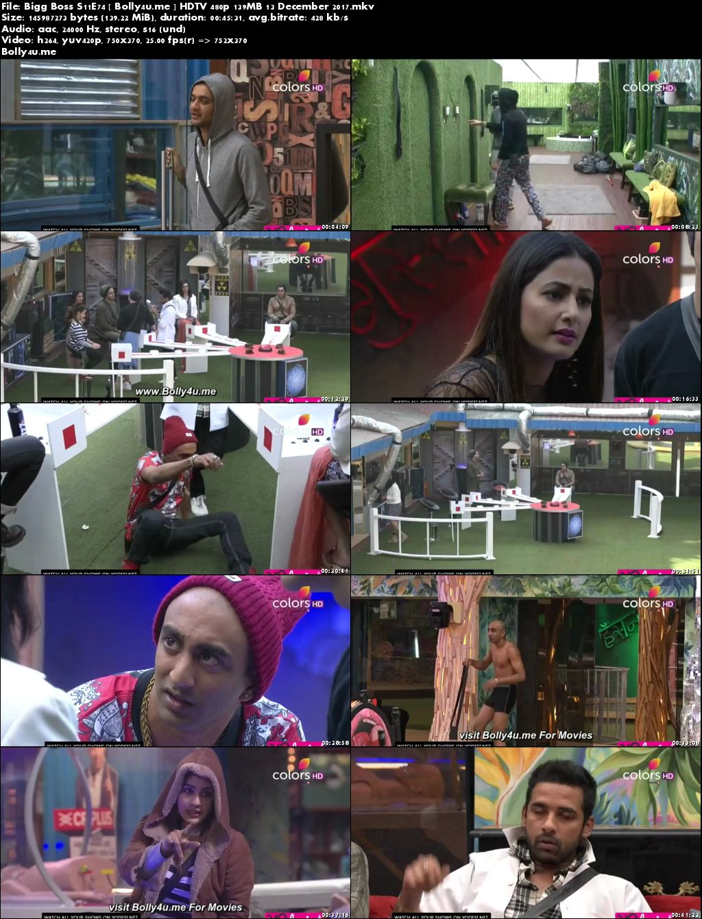 Bigg Boss S11E74 HDTV 480p 140MB 13 December 2017 Download