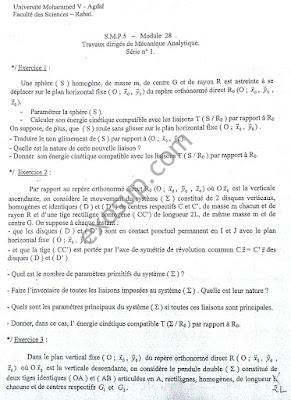 TD corrigés Mécanique Analytique et Vibrations FS Rabat