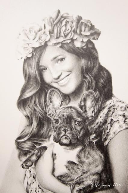 Retrato dibujado de Malena Costa y Roco