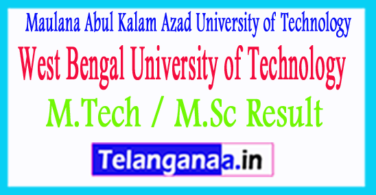 WBUT M.Tech / M.Sc Result 2018 MAKAUT Exam Results