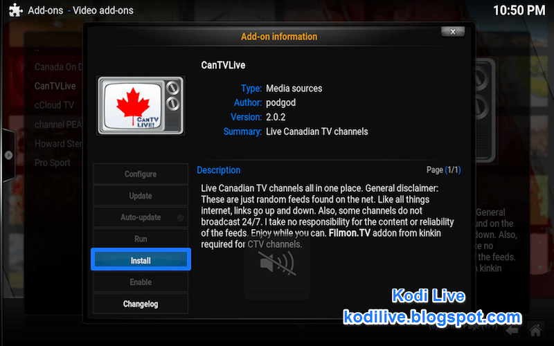 how to get canadian tv on kodi
