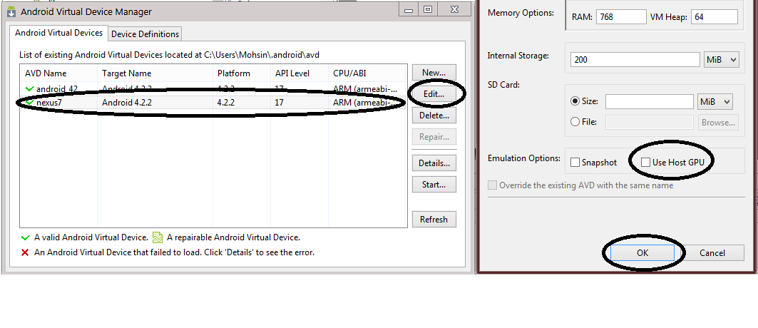 Android emulator error at runtime: std::bad_alloc | Coders