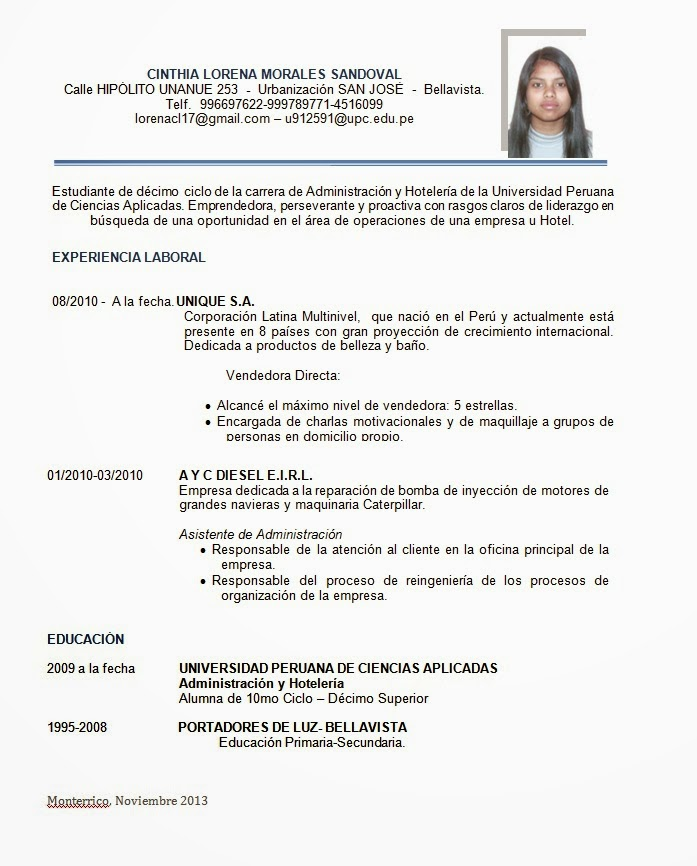 Mi Blog Personal : Curriculum Vitae Por Logros Y Funciones