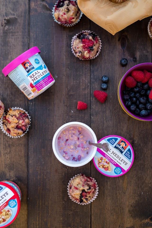 quaker real medleys yogurt, berry muffins, healthy, breakfast, summer, power muffins
