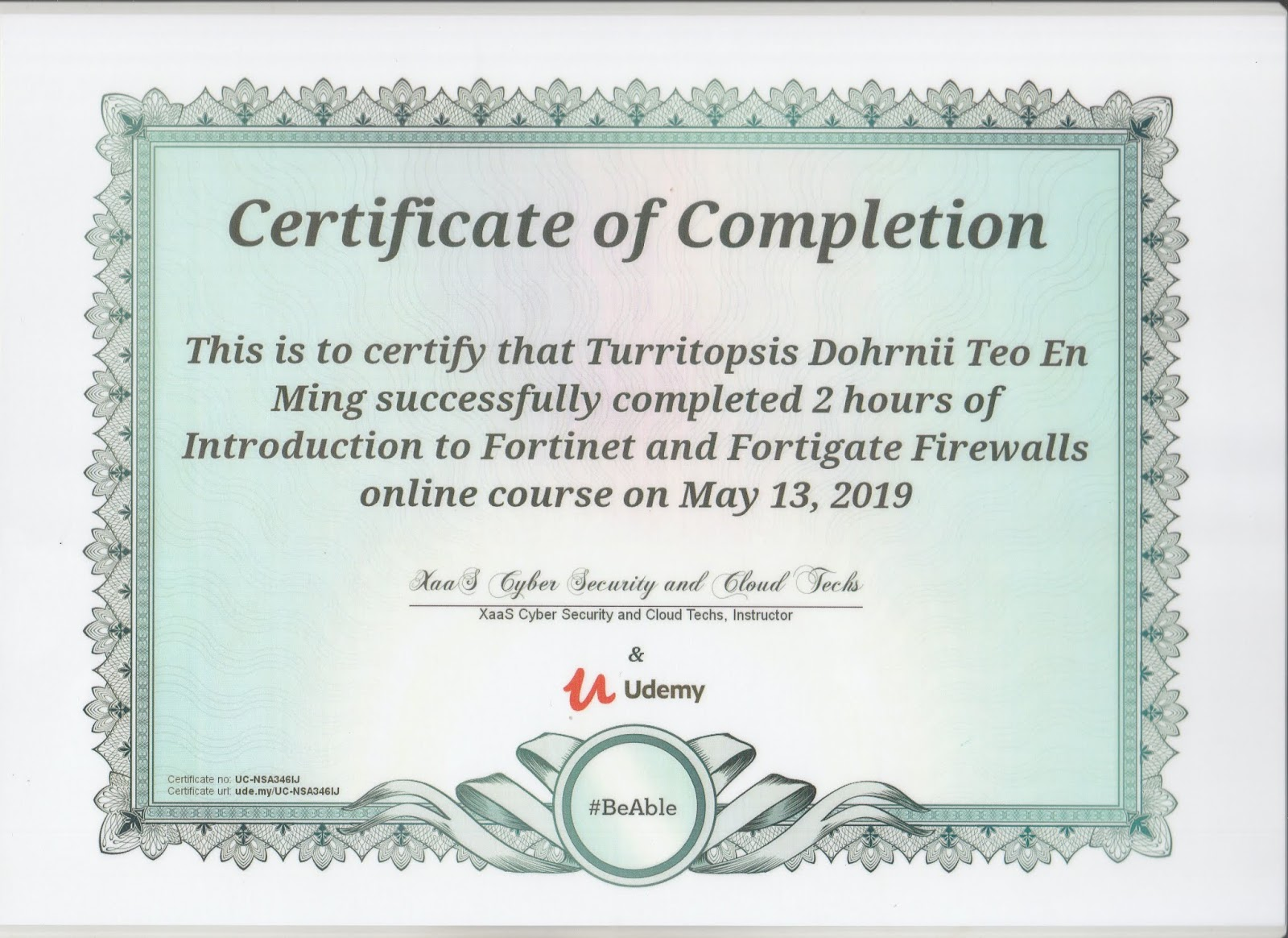udemy certificate completion