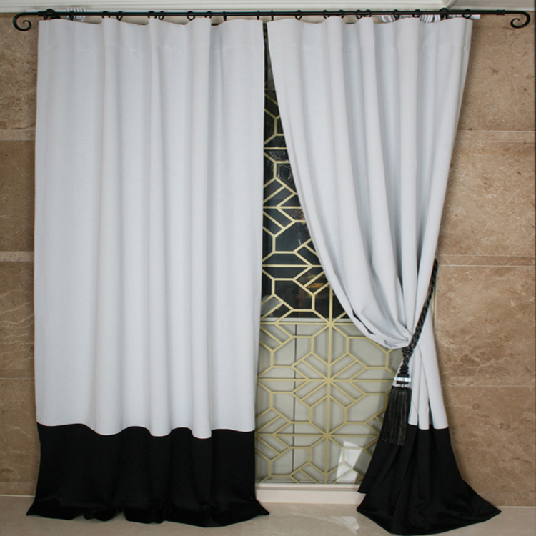 Simple Modern Style Splicing Polyester/Artificial Fiber Blend Blackout Curtains