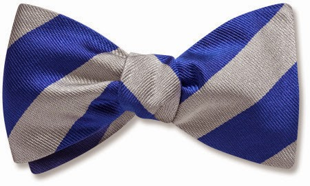 Blue and Silver bow tie from Beau Ties Ltd.
