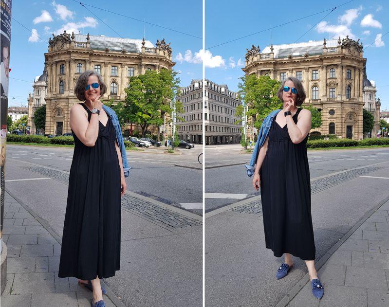 Im schwarzen Maxikleid vor der Münchner Börse