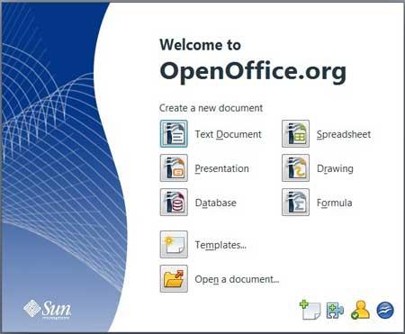 Tela principal do OpenOffice