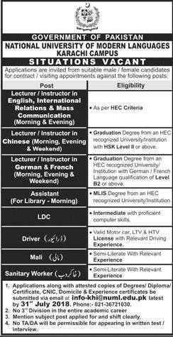National University of Modern Languages July 2018