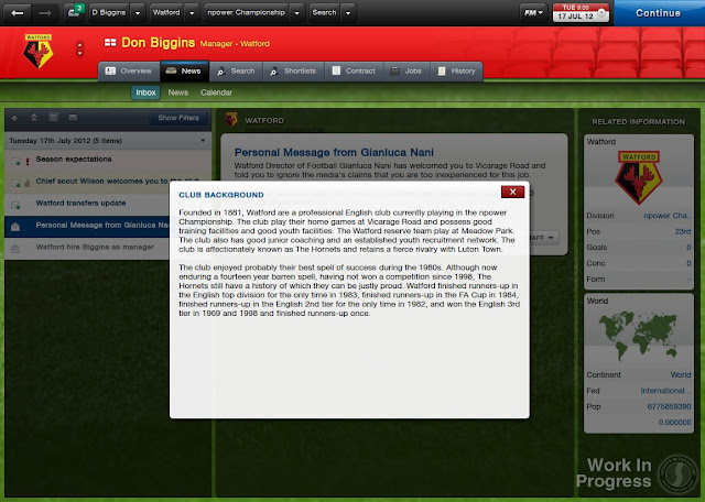 Inbox In Football Manager 2013