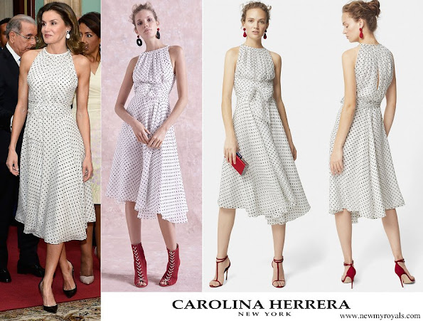 Queen Letizia wore a white and black polka-dot printed frock by Carolina Herrera
