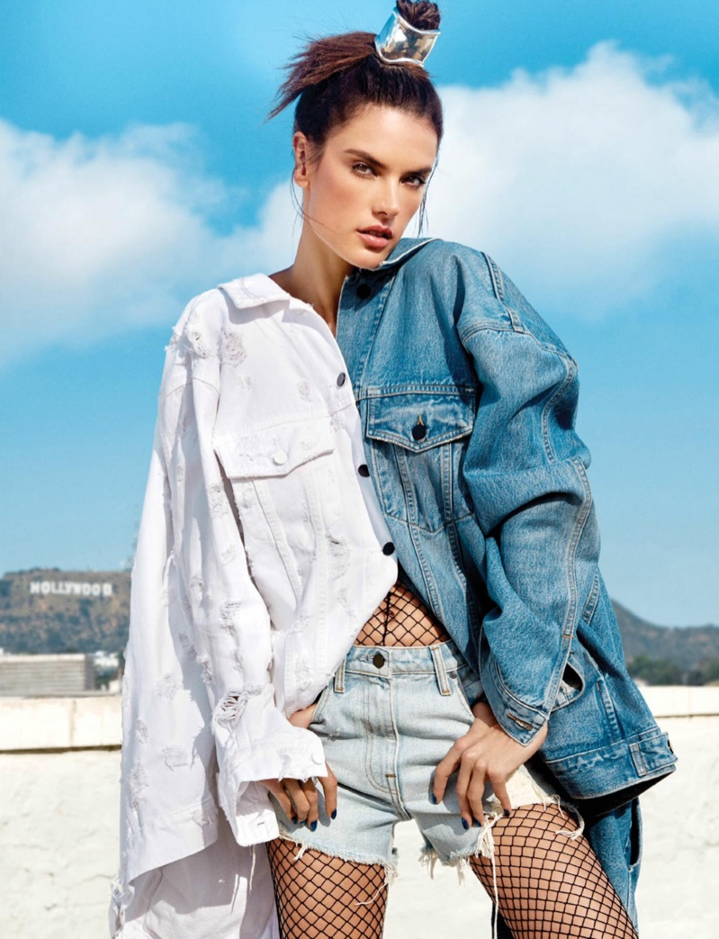 Model Alessandra Ambrosio wears Alexander Wang denim jackets and shorts