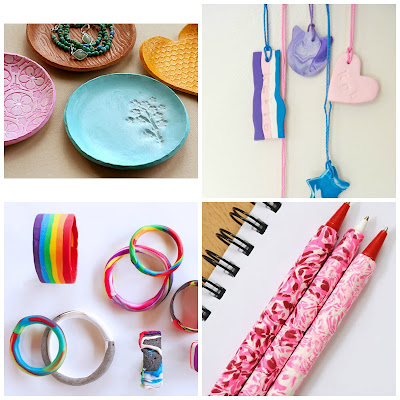 image tutorial roundup polymer clay diy craft marbled pen jewellery jewelry dish trinket bangles bracelets necklace tag